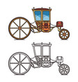 vintage carriage for wedding royal horse chariot vector image vector image