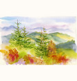 watercolor autumn mountains with yellow trees vector image