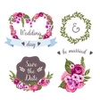 Wedding collection with hand-drawn flowers vector image