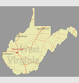 west virginia accurate high detailed state map vector image vector image