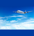 airplane fly in the in a blue cloudy sky travel vector image