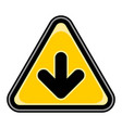 arrow download sign triangular sticker vector image vector image