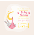 Baby Girl Shower or Arrival Card - with Baby Bunny vector image vector image