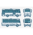 bus front side back view line style vector image