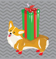 cartoon dog with a christmas present symbol vector image