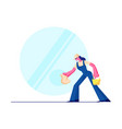 cleaning service female character wearing blue vector image vector image