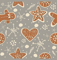 cute winter seamless pattern with gingerbread vector image vector image