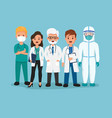 doctor and medical team with ppe suit vector image