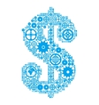 Dollar sign in the form of a gear mechanism vector image vector image