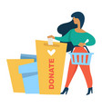 donation and charity woman donating money check vector image