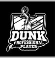 dunk professional player in modern sign or badge vector image vector image