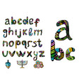 english multicolored alphabet hanukiya savivon vector image