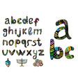 english multicolored alphabet hanukiya savivon vector image