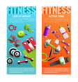fitness gym vertical banners set vector image vector image