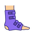 foot ankle brace color icon vector image vector image