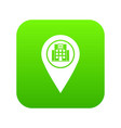 geo tag with hospital building icon digital green vector image vector image