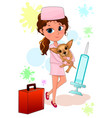 girl doctor with a dog in her arms vector image