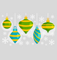 green blue xmas toy banner flat style vector image vector image