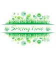 green spring grass with flower and butterflies vector image vector image