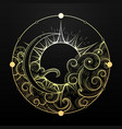 hand drawn golden sun and moon with cloud vector image vector image