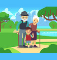happy cartoon older couple with grandson in park vector image vector image