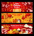 Happy chinese dog new year greeting banners