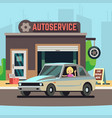 happy woman driver on car service station vector image vector image