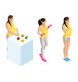 isometry of pregnant girls in different situations vector image vector image