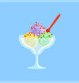 mixed ice cream in a glass bowl vector image