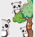 panda bears in forest doodle cartoons vector image vector image