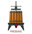 pressing grapes mechanism barrel and machine vector image vector image