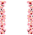 prunus persica - peach flower blossom border vector image