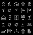 Real estate line icons on black background vector image vector image