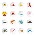 sea animals icons set in flat style vector image vector image