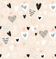 seamless childish pattern with hand drawn hearts vector image vector image