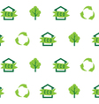 Seamless pattern eco house green tree recycling vector image