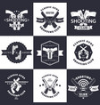 shooting club guns and ammo vintage emblems vector image