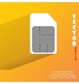 SIM card Flat modern web button with long shadow vector image