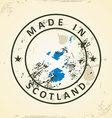 Stamp with map flag of Scotland vector image vector image