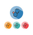 stethoscope flat color icon with shadow on a vector image vector image