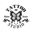 tattoo studio emblem with butterfly vector image vector image