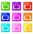 toaster icons 9 set vector image vector image