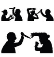 violence in family set with knife vector image vector image