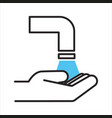 washing hands with running water hygiene and self vector image