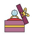 wedding ring gift box vector image vector image