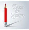 Red colored pencil with realistic shadow and vector image