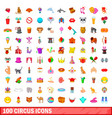 100 circus icons set cartoon style vector image vector image