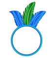 Blue frame ring with feathers vector image