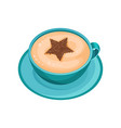 blue mug of coffee with star drawing on foam of vector image