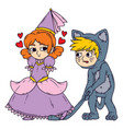 boy and girl in halloween costumes vector image